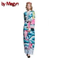 by Megyn 2017 runway maxi dress women round neck long sleeve print belt loose dress female party dresses vestidos robe femme
