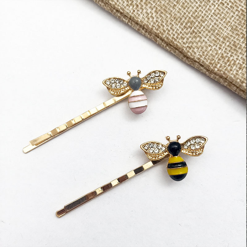 Ubuhle Elegant Bee Rhinestone Hair Clip for Women Fashion Charm Hair Pins Silver Metal Crystal Hairwear Cute Bee Hair Jewelry in Hair Jewelry from Jewelry Accessories