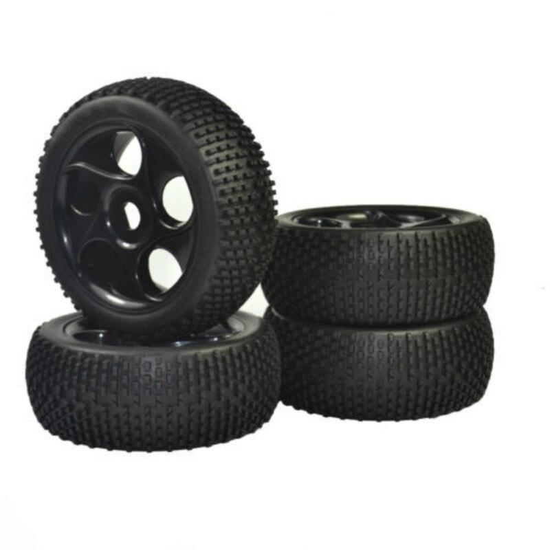 4PCS 1:8 Rubber Tires & Wheel Rims for HSP RC 1:8 Off-Road Buggy Car 4pcs 1 9 rubber tires
