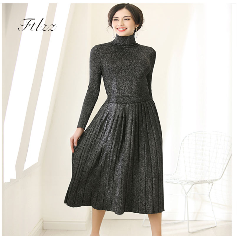 New 2018 Auutmn Winter Two Piece Sets Women Elegant Turtleneck Sweater + Pleated Skirt Twinset Suits Woman Knitted 2 Pcs Set