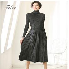 New 2018 Auutmn Winter Two Piece Sets Women Elegant Turtleneck Sweater Pleated Skirt Twinset Suits Woman
