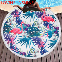 Summer Flamingo Leaf Flower Printed Circle Round Towel Oversized Large Microfiber Thick Terry Beach Blanket 150x150cm