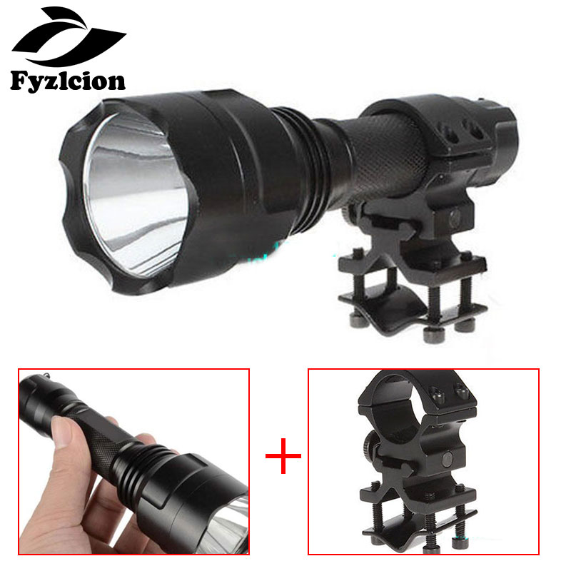 Hunting Scope Mounts & Accessories Tactical Gun Mount Hunting Accessories C8 Cree Q5 Led 1000lm Flashlight Torch Lamp