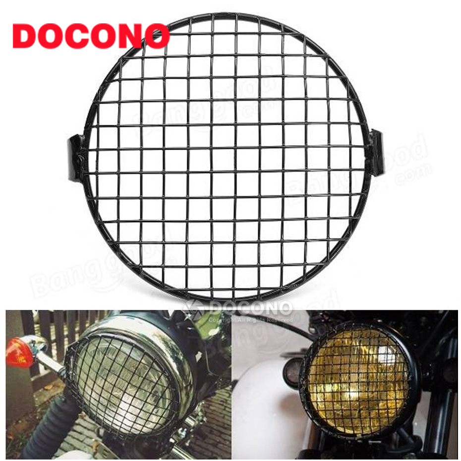 New 1x Alloy Diamond Grid Side Mount Motorcycle Headlight Cover Headlamp Mesh Grille Mask Lid Cover For Harley-Davidson #6947 motorcycle scooter electroplate front headlight headlamp head light lamp small mask cap cover shield large for yamaha bws x 125