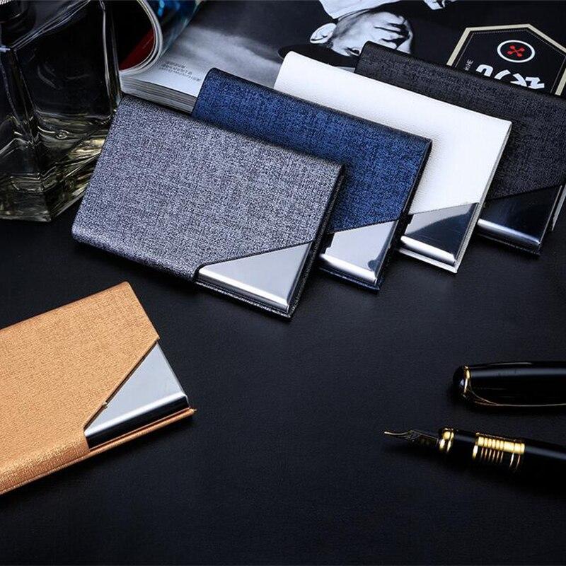 Men PU Leather Credit Card Holder Women Fashion Brand Metal Aluminum ...