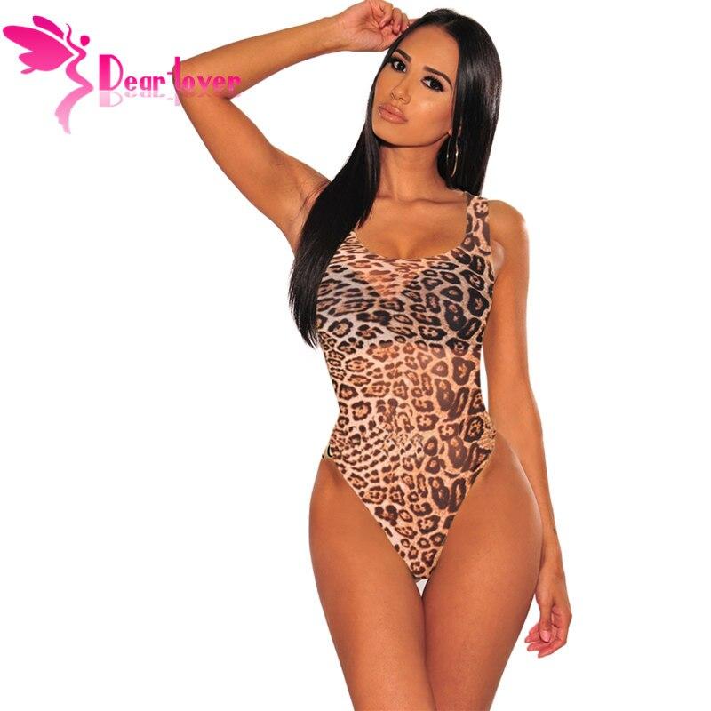 Dear Lover Dear Lover 2019 New Fashion Leopard Print Tank Bodysuit Women Skinny Slim Fit Summer Rompers Women   Jumpsuit   LC32401