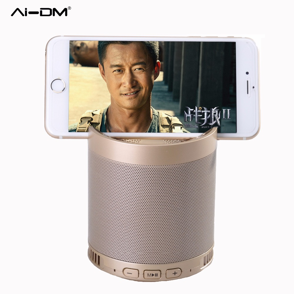 AIDM Q3 Portable Wireless Speakers For Phone Holder Outdoor Indoor Bluetooth Handsfree Speaker HiFi Boxes TF LED Music Player PC