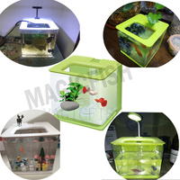 Table mini Nano fish tank Colorful Mini Aquarium Fish Tank with LED Light Office and Home Decoration
