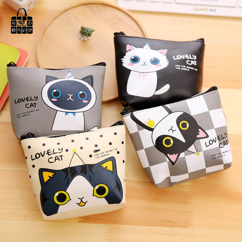 1 pcs RoseDiary Cartoon cat pu Leather Zero wallet children lady zipper Wallet Pouch boy Change Pocket Pouch Bag Keys coin bag rosediary cute owls pu leather waterproof zipper coin purse women clutch lady wallet phone pocket pouch bag keys cosmetic holder