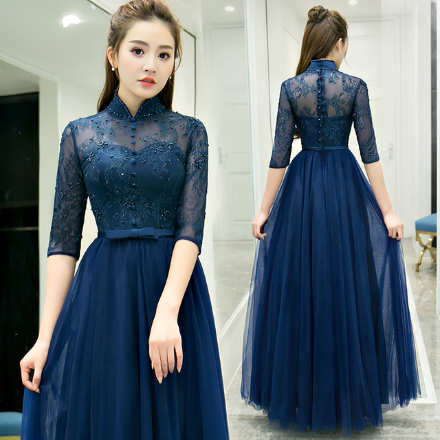 New navy blue floor length sweat lady girl women princess bridesmaid  banquet party dress gown b698b2d6ab17