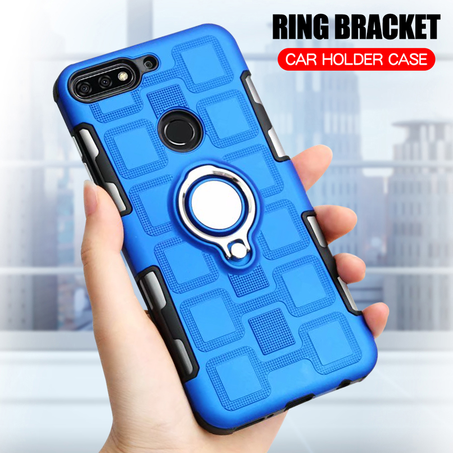 Shockproof <font><b>Case</b></font> For <font><b>Huawei</b></font> <font><b>Y7</b></font> <font><b>2018</b></font> <font><b>Silicone</b></font> Armor Phone <font><b>Case</b></font> For <font><b>Huawei</b></font> <font><b>Y7</b></font> Prime <font><b>2018</b></font> Luxury Anti-Fall TPU Cover Ring Stand <font><b>Case</b></font> image