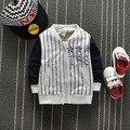 2016 nueva primavera casual Niños Bebés letterstar Raya del Algodón de Los Niños Chaquetas de Béisbol Deporte Cardigan Outwear Abrigos Y1323