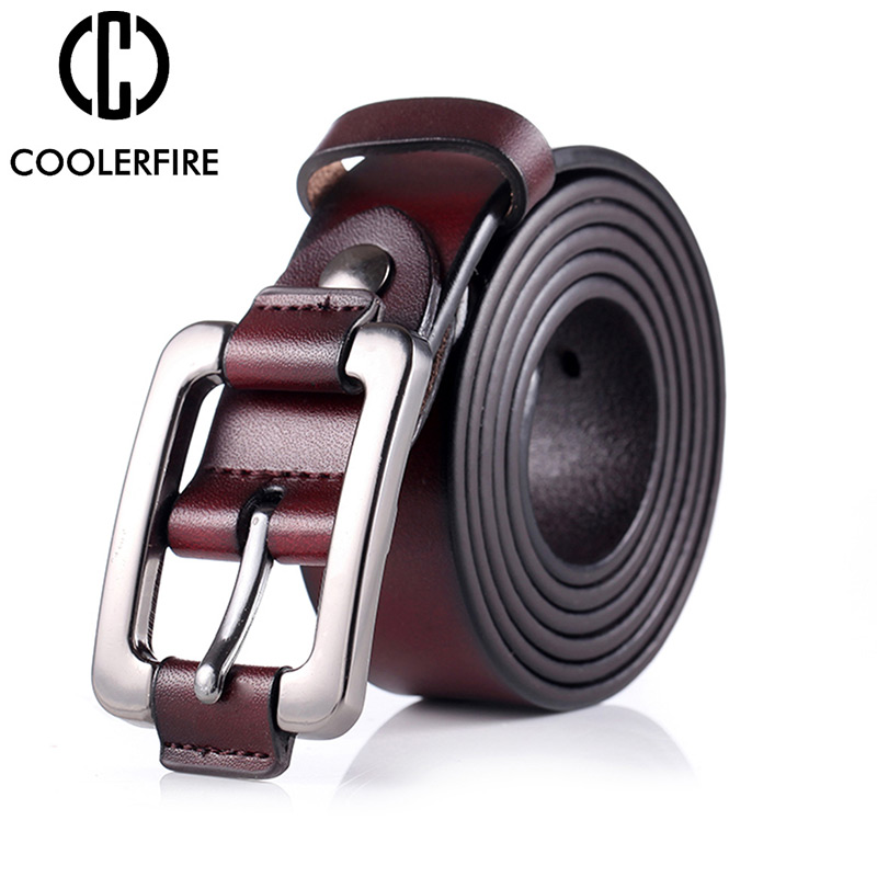 COOLERFIRE New Designer Fashion Women's Belts Genuine Leather Brand Straps Female Waistband Pin Buckles Vintage For Jeans LB003