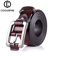 COOLERFIRE New Designer Fashion Womens Belts Genuine Leather Brand Straps Female Waistband Pin Buckles Vintage for Jeans LB003