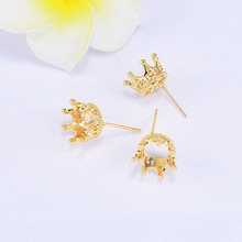 (177) 10PCS 12x20MM 24K Gold Color Brass Crown Stud Earrings High Quality Diy Jewelry Findings Accessories