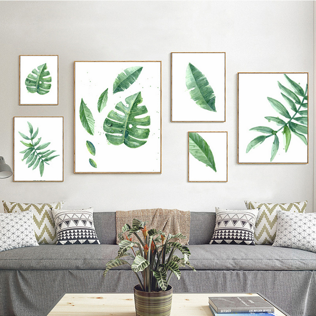 Watercolor Green Plants Monstera Nature Posters And Prints: Green Plants Minimalist Canvas Paintings Nordic Art