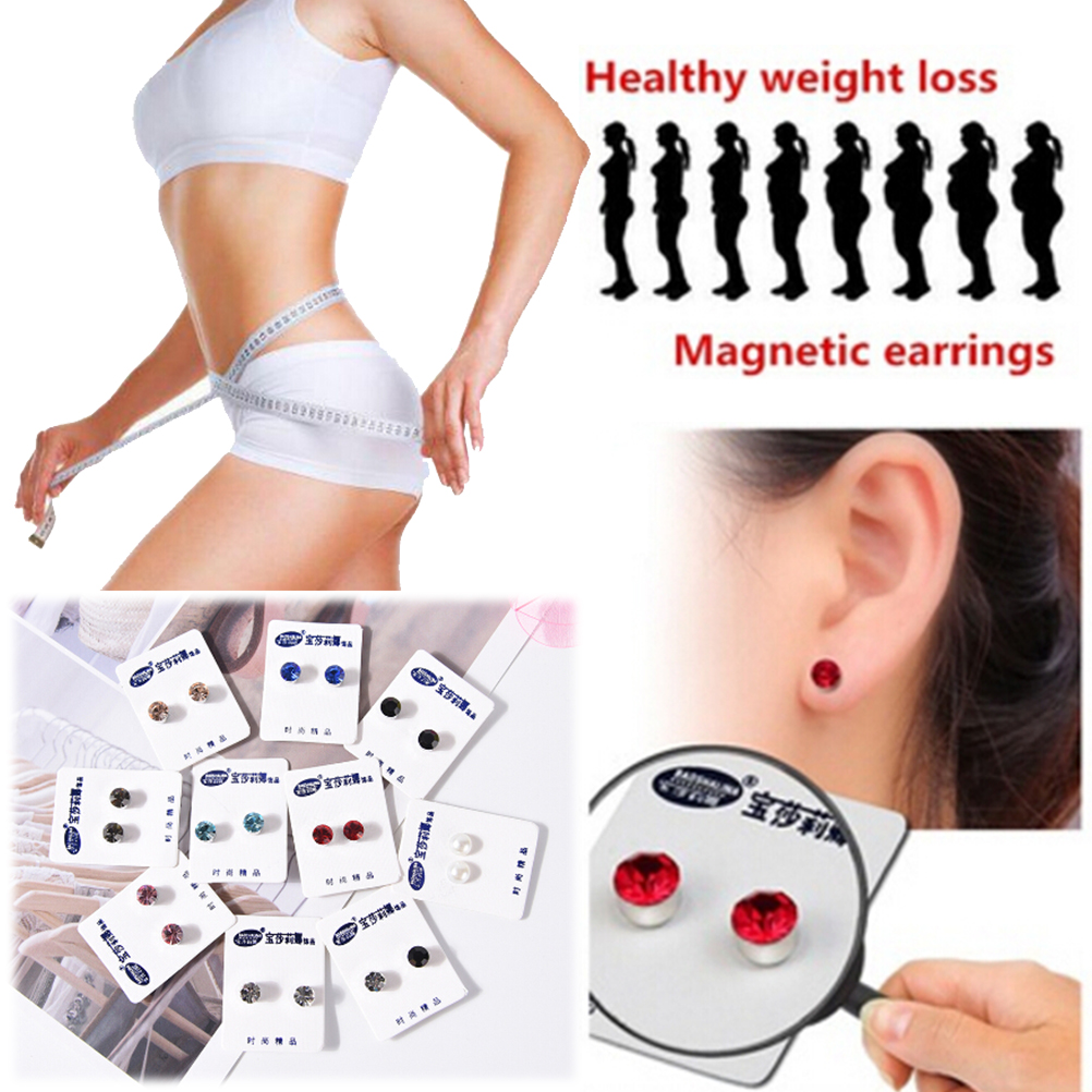 2pc Magnetic Slimming Earrings Weight Loss Acupoints Stud Magnetic Therapy Crystal Earring Fat Burning Slimming Face Lift Tools(China)
