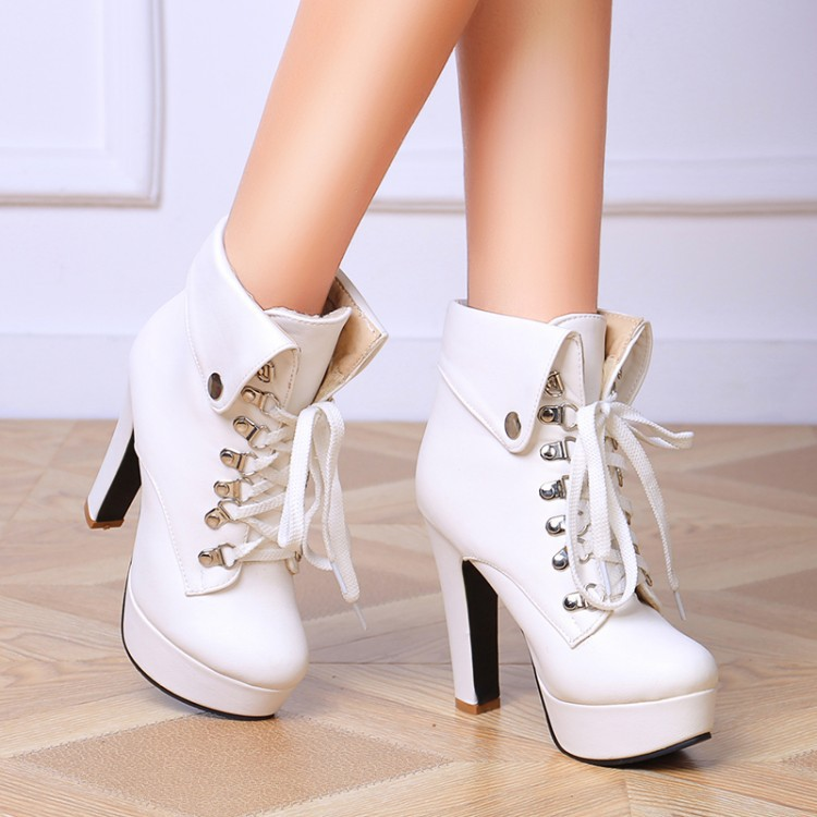 9461d90a231 Women Fashion Ankle Boots Platform Pumps Lace Up female Martin fold Boots  waterproof Taiwan high heel Simple shoes Baok B268-in Ankle Boots from Shoes  on ...
