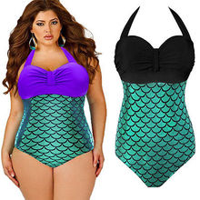 Plus Size 3XL Sexy Women Mermaid One Peice Swimsuit Bikini Push-up Padded Swimwear Swimsuit Bathing Suit Women Bikinis