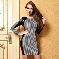Patchwork PVC Dress 2015Spring Summer Hot Sale M L Patchwork Sheath Above Knee Polyester Sexy Club