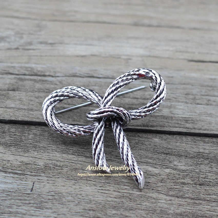 Anslow 2020 New Brand Kualitas Elegan Lady Fashion Perhiasan Busur-Simpul Bros Pin untuk Wanita Kuno Gaya Vintage hadiah Pesta