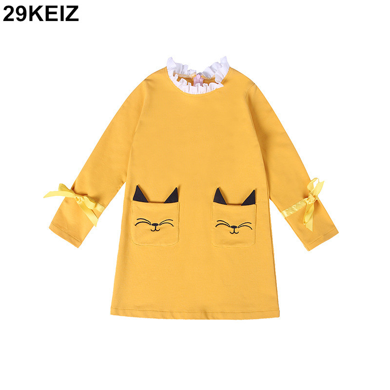 29KEIZ Cotton Girls Dress 2018 Spring Children Clothing Cartoon Red Lace Collar Long Sleeve Bow Casual Baby Girl Princess Dress girls europe and the united states children s wear red princess long sleeve princess dress child kids clothing red bow lace