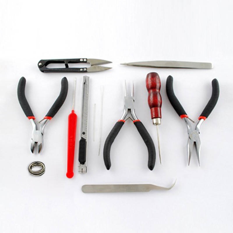 1 Set DIY Jewelry Making Tool Kits, Round Nose Pliers, Side Cutting Pliers, Wire Cutter, Scissor, Beading Tweezers 7pcs mini beading pliers tools round flat long nose multi size pliers set