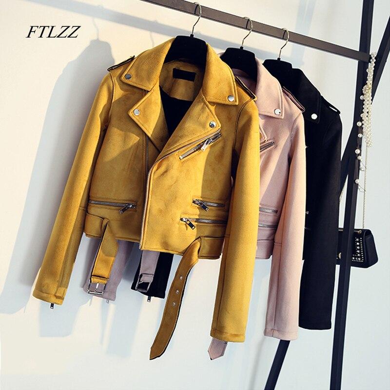primavera otoño Vintage chaqueta cuero gamuza Ftlzz imitación mujer ZSxRqHHwz