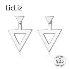 LicLiz 2019 New 925 Sterling Silver Hollow Triangle Stud Earrings for Women Simple Geomatric White Gold Jewelry Gift LE0590