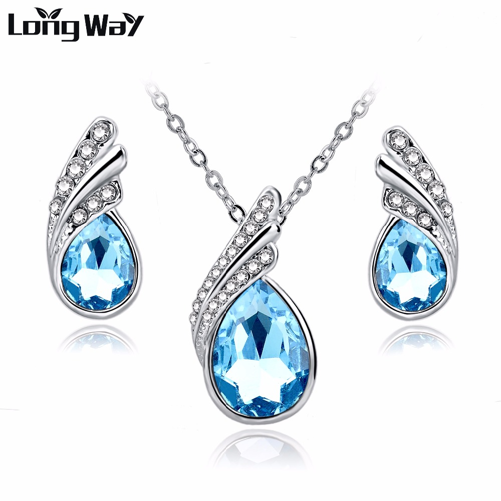 Longway 2017 Fashion Jewelry Sets Silver Color Rhinestone Jewelry Sets Blue  Crystal Necklace Earrings Set For