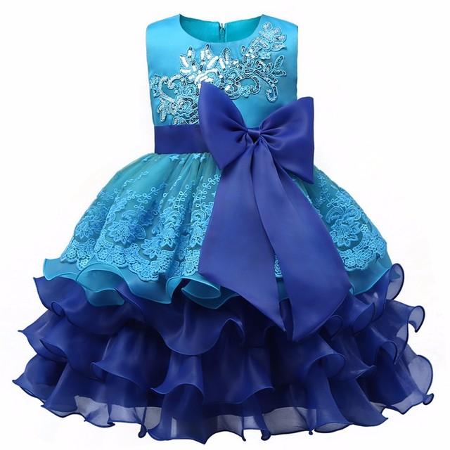 2017 Nuevo vestido acodado niñas vestidos de flores Arco Grande azul bebé Vestido de Noche vestido de fiesta vestido de fiesta de La Boda de Cumpleaños infanil