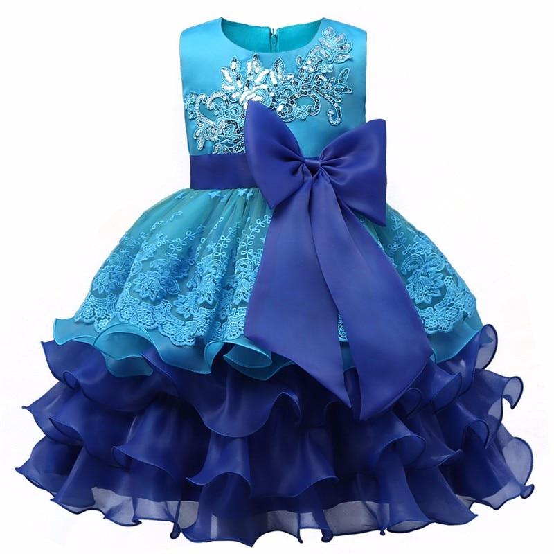 2019 New layered   dress     flower     girls     dresses   Big Bow blue baby Evening Gown Birthday party   dress   Wedding vestido de festa infanil