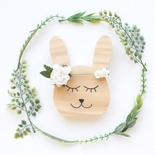 цены Nordic Style Wooden Animal Bear/Rabbit/Cat Wall Decor Ornaments Baby Kids Room Decoration Photography Props Wood Toys Craft Gift