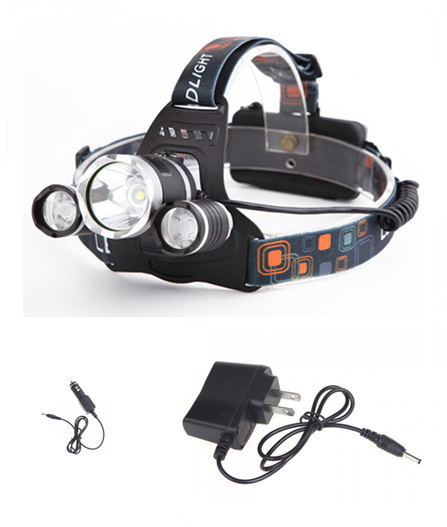 Super Bright 5000LM LED Headlight T6+2*R2 LED Headlamp Bike Lamp Outdoor Head Lamp+Charger+Car-charger Use 18650 Battery