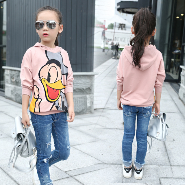 Spring Autumn Girls Cartoon Sweatshirts for 4-14 Years Baby Children Clothes Cotton Casual Boys Girls Sweatshirts Hoodies Tops