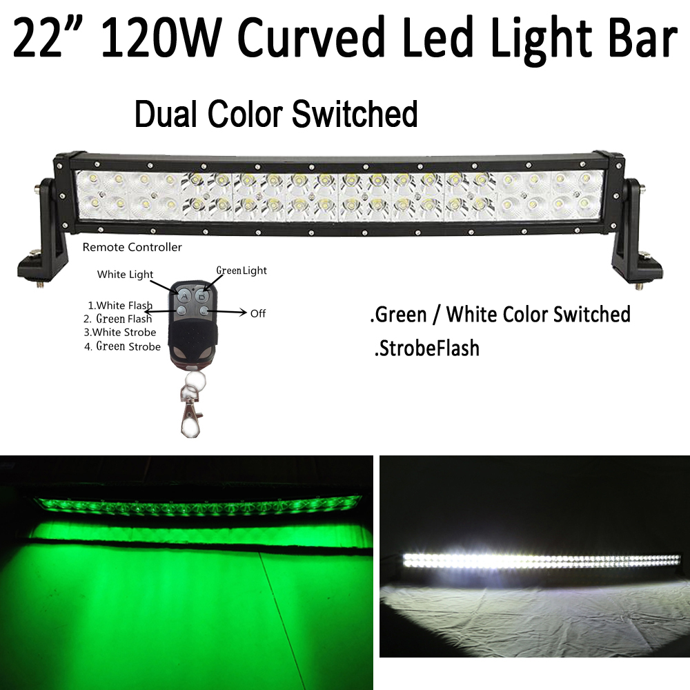 White /Green Dual Color Switched Strobe 22 120W Led Curved Work Light Bar Spot Flood Combo for OFFROAD SUV JEEP TRUCK HUNTING lighting led lightbars spot flood combo 12v 24v led lamp 120w curved offroad light