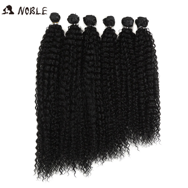 Noble Afro Kinky Curly Hair Weave 18-22 inch 6Pieces/lot Synthetic Hair Bundles With Closure Ombre Hair Bundles Synthetic Hair