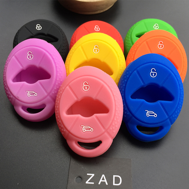 ZAD Silicone car Key set Shell Fob Skin Case Cover for BMW Mini Cooper   S R50 R53 Two 2 Buttons remote Repair Protect styling