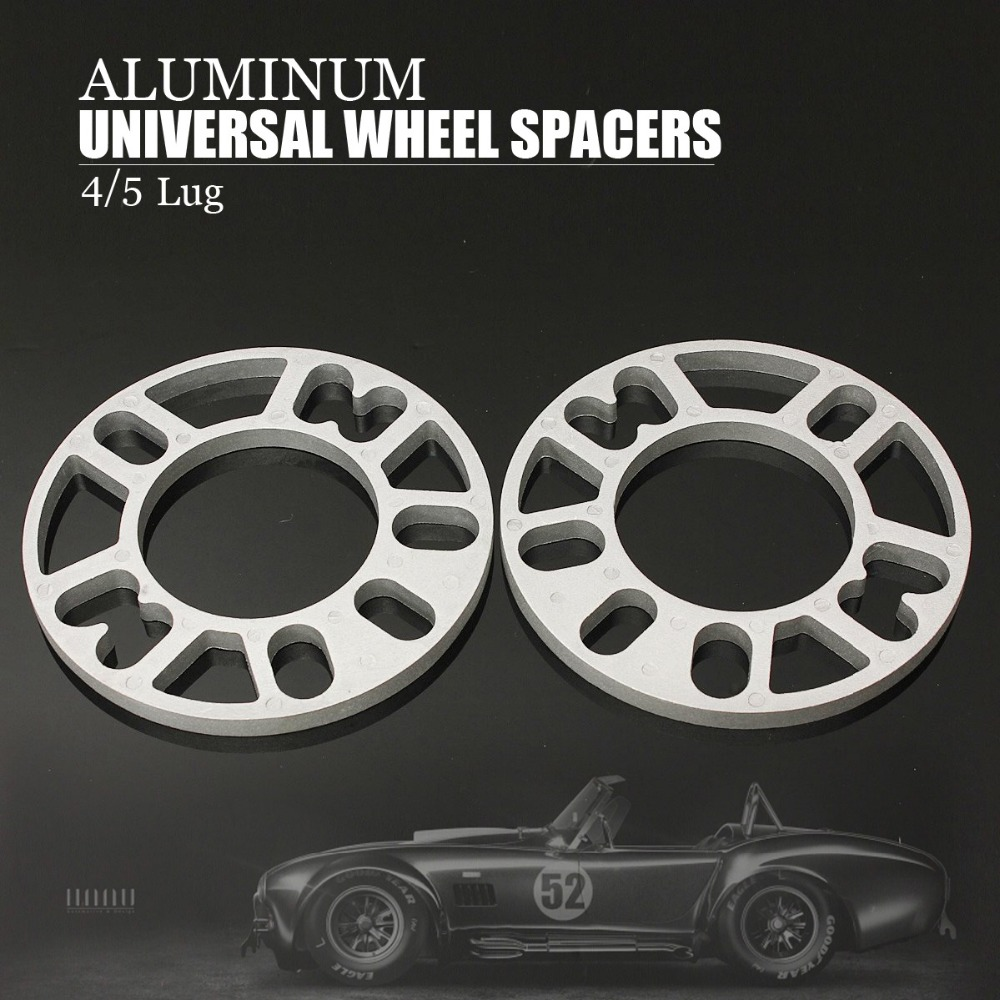 2PCS Universal Aluminum Alloy 4 and 5 Lug 5mm Thickness Wheel Spacer Gasket for Car Auto