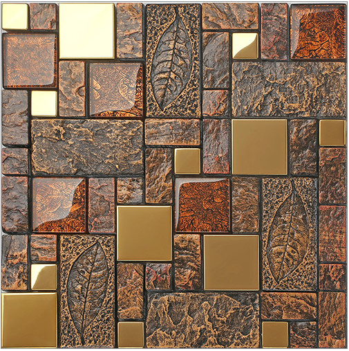 где купить Copper red resin sticker Fireplace kitchen backsplash wall tiles,drawbench metal crystal glass home border DIY wallpaper,LSRN11 по лучшей цене