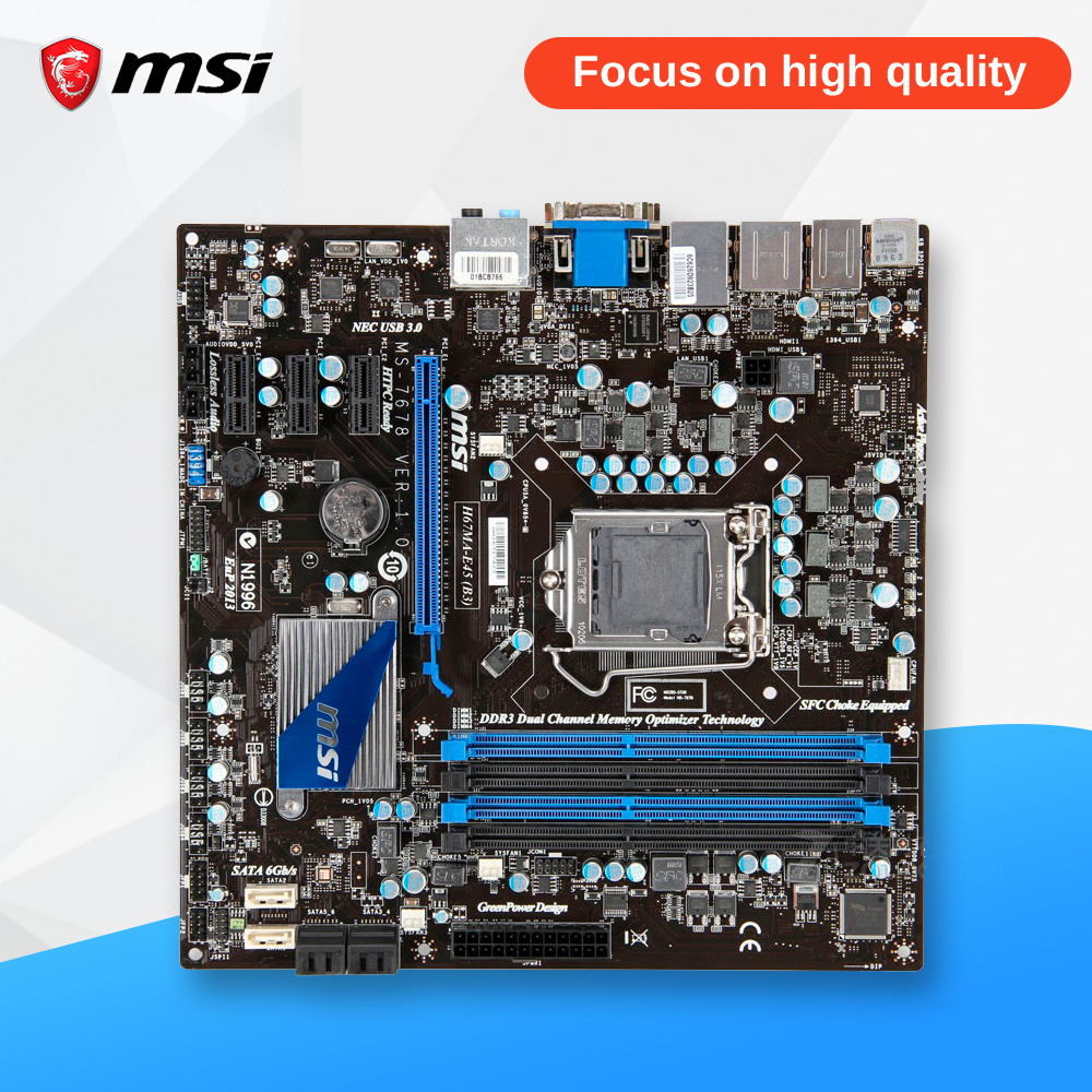 MSI H67MA-E45(B3) Original Used Desktop Motherboard H67 Socket LGA 1155 i3 i5 i7 DDR3 32G SATA3 Micro-ATX msi h77ma g43 original used desktop motherboard h77 socket lga 1155 i3 i5 i7 ddr3 32g sata3 micro atx
