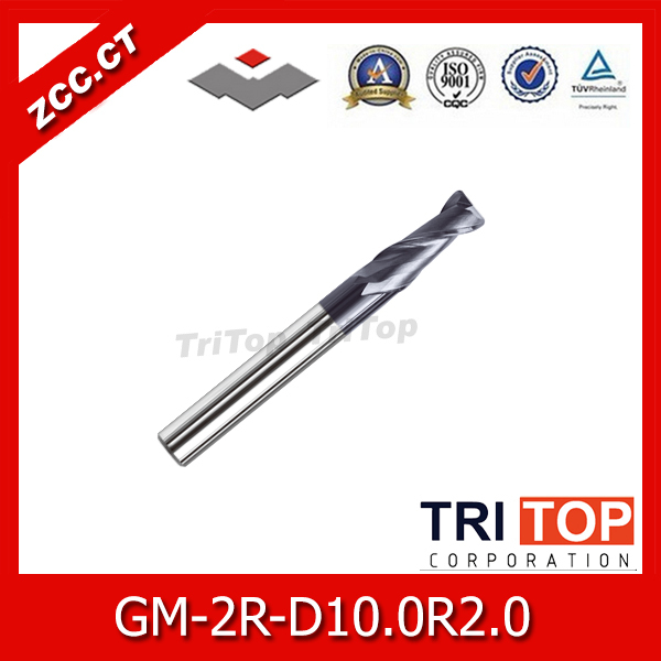 ZCC.CT  GM-2R-D10.0R2.0 Solid  Carbide 2 flute end mills with straight shank  10mm Tool diameter  2mm Radius