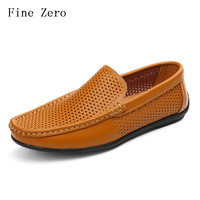 Men Loafers 2017 Casual Boat Shoes Fashion Genuine Leather Slip On Driving Shoes Moccasins Hollow Out