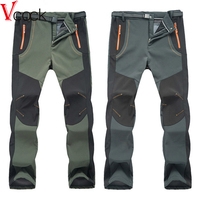 New Winter Men Women Hiking Pants Outdoor Softshell Trousers Waterproof Thermal For Camping Skiing Climbing 2017