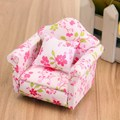 New 1:12 Scale Pink Floral Miniature Armchair Single Sofa Couch For Children Mini DIY Dollhouse Furniture Toys Gift