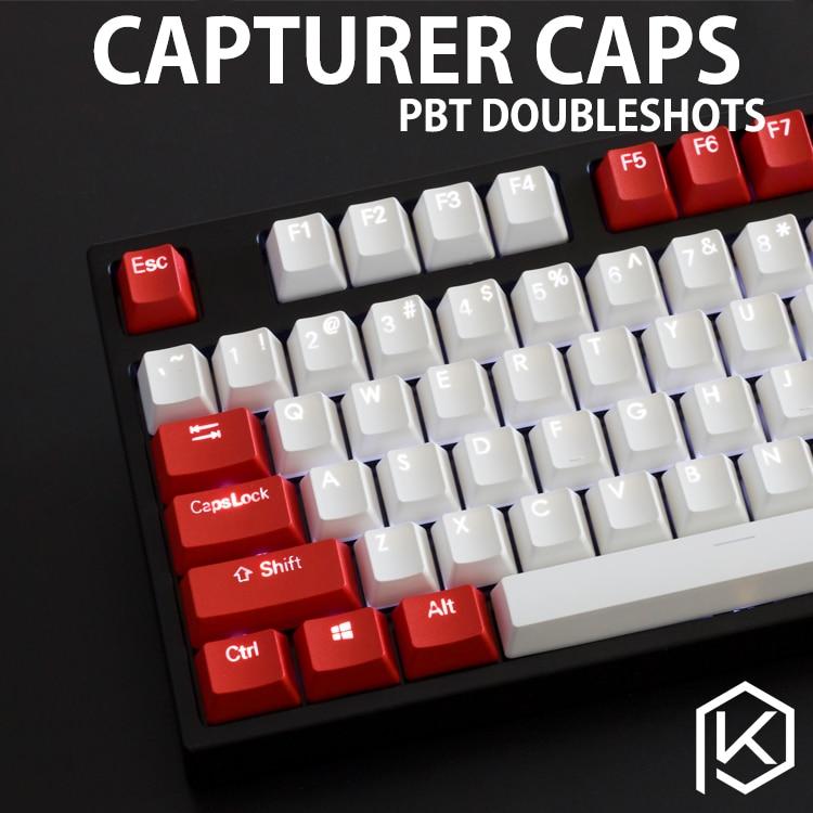 Capturer Backlit Doubleshot PBT Keycap Set Durable Shine Through Legends OEM profile Compatible with Cherry MX
