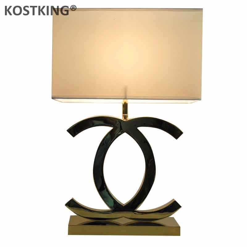 CC X Table Lamp Light Fixture Stainless Steel Lampada Lights With E27 Bulb Desk Lamp for Living Room Bedroom Dinning Room