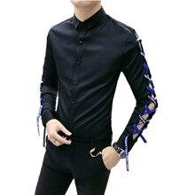 Chemise Homme Slim Fit Shirt Japan Ribbon Hollow Out Design Men Long Sleeve Shirts Man Camisas Hombre Social Dress Shirt Blouse hollow out fit