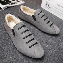 Classic Comfortable Men Casual Shoes 2018 winter leather shoes fashion loafer warm cottons velvet Yasilaiya