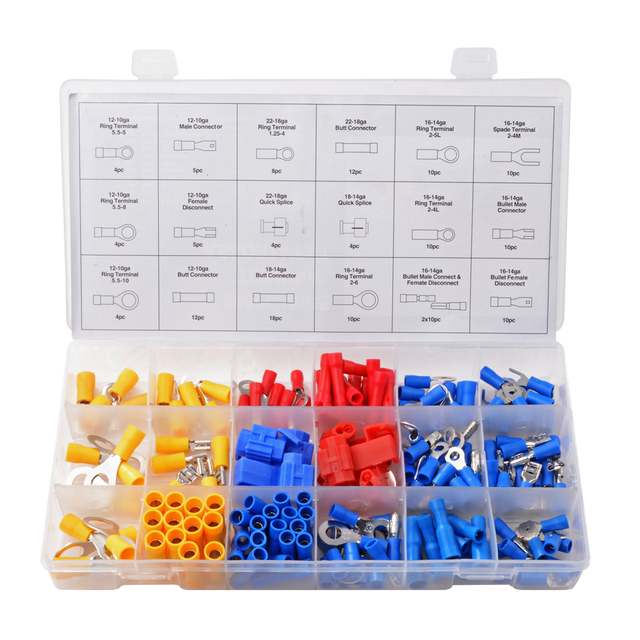 160pcs Wire Terminal Assortment Set Insulated Electrical Wiring ...